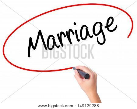 Women Hand Writing Marriage With Black Marker On Visual Screen