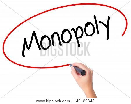 Women Hand Writing Monopoly With Black Marker On Visual Screen.