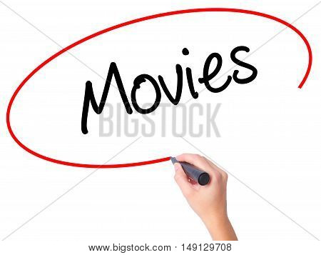 Women Hand Writing  Movies With Black Marker On Visual Screen