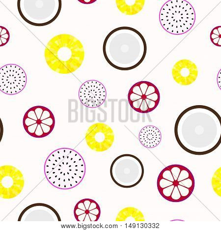 Tropical fruits - seamless light colorful vector pattern.