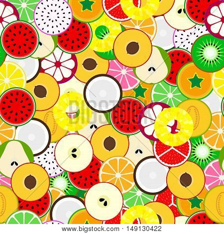 Bright fruit seamless background. Vector tropical mix.