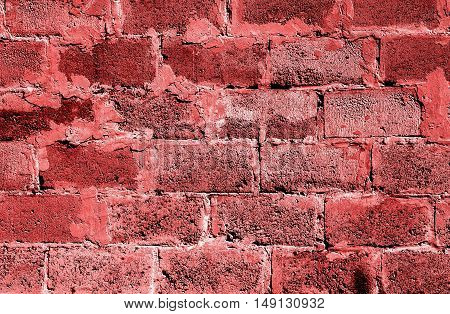 Red Brickwork Detailed Texture Background - Stock Photo