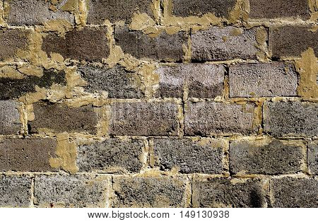 Contrasted Brickwork Detailed Texture Background - Stock Photo