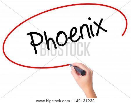 Women Hand Writing Phoenix  With Black Marker On Visual Screen