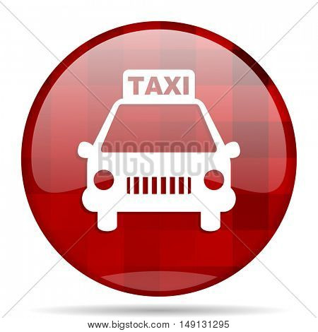 taxi red round glossy modern design web icon