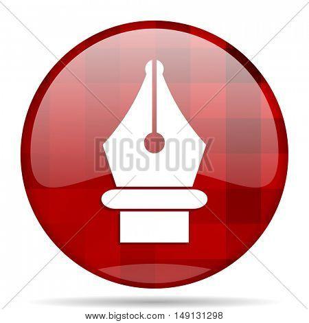 pen red round glossy modern design web icon