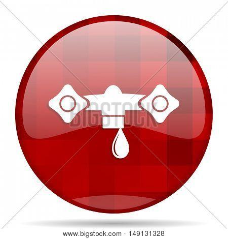 water red round glossy modern design web icon