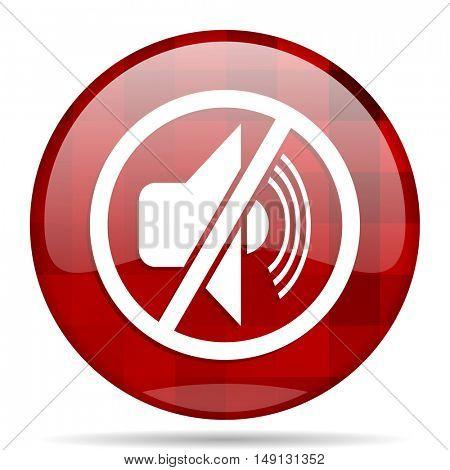 mute red round glossy modern design web icon