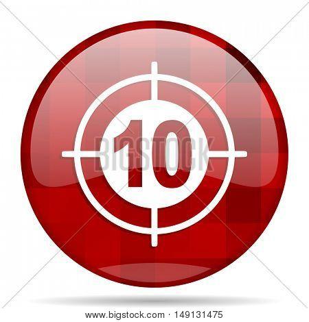 target red round glossy modern design web icon