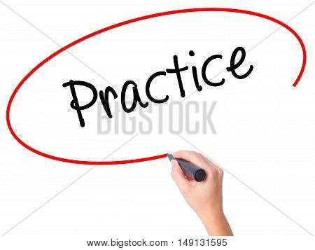 Women Hand Writing Practice With Black Marker On Visual Screen