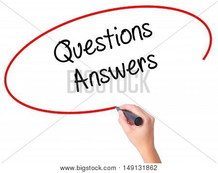 Women Hand Writing Questions Answers With Black Marker On Visual Screen