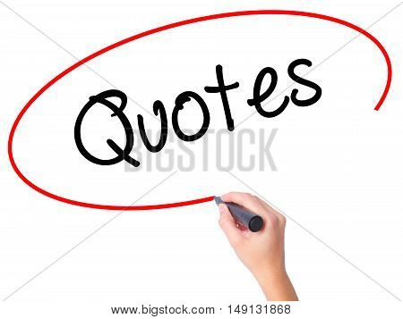 Women Hand Writing Quotes  With Black Marker On Visual Screen
