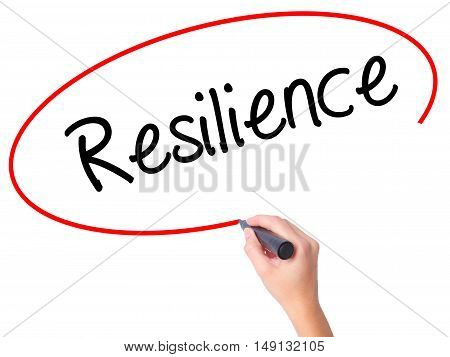 Women Hand Writing Resilience With Black Marker On Visual Screen