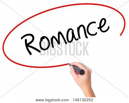 Women Hand Writing Romance With Black Marker On Visual Screen