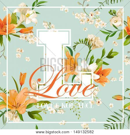 Vintage Colorful Flowers Graphic Design - Orange Lilies - for T-shirt, Fashion, Prints - in vector
