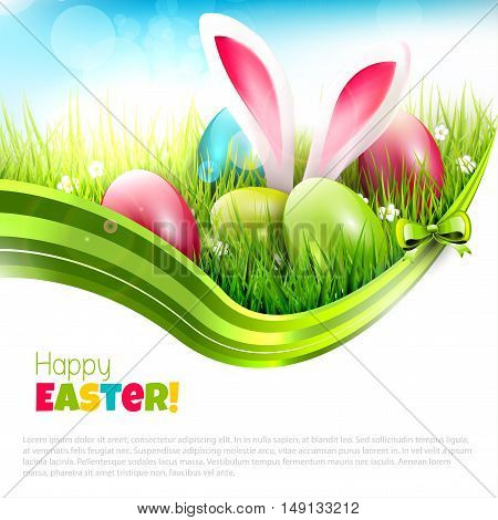 Easter greeting card with eggs and rabbit ears sticking out of the grass - vector illustration with place fort ext