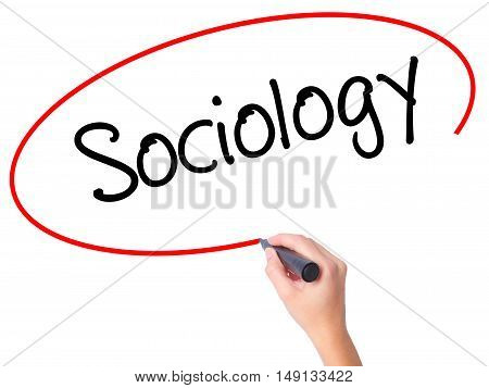 Women Hand Writing Sociology  With Black Marker On Visual Screen