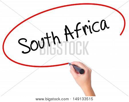Women Hand Writing South Africa With Black Marker On Visual Screen