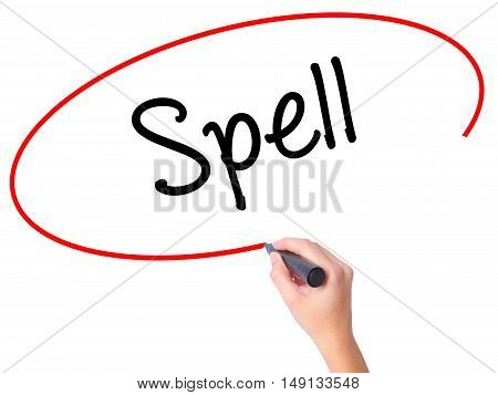 Women Hand Writing Spell With Black Marker On Visual Screen