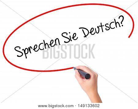 """Women Hand Writing """"sprechen Sie Deutsch?"""" (in German - Do You Speak German?) With Black M"""