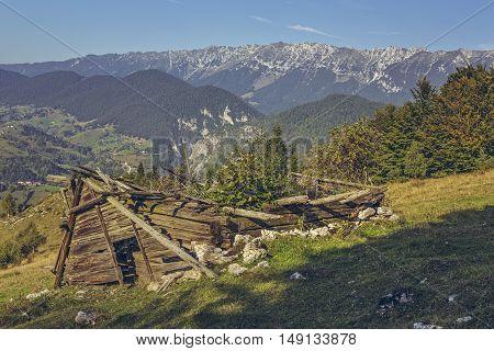 Deserted Damaged Wooden Ramshackle