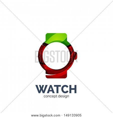 Vector watch logo template, elegant geometric design