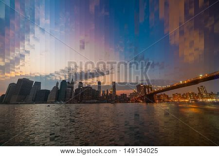 Downtown Manhattan skyline at dusk, New York City - NY - USA. TimeSlise shooting technique.