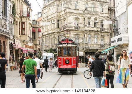 The Famous Historical Tram In The Center Of Istanbul
