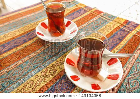 Black Turkish tea in traditional glasses. Istambul Turkey.