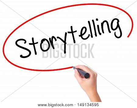 Women Hand Writing Storytelling With Black Marker On Visual Screen.