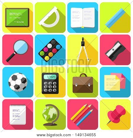 Vector set of flat style icons with school supplies
