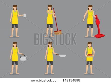 Young housewife cartoon character wearing a yellow apron and holding different household items. Set of six vector illustrations isolated on plain grey background.