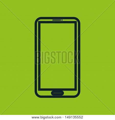 smartphone icon green neon social network vector illustration