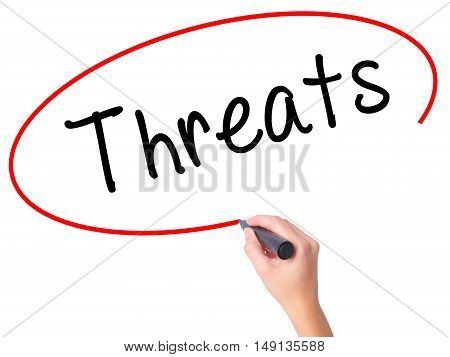 Women Hand Writing Threats With Black Marker On Visual Screen
