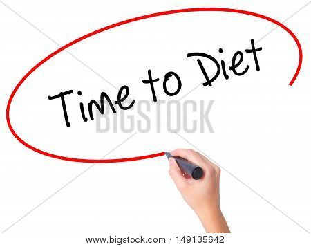 Women Hand Writing Time To Diet With Black Marker On Visual Screen