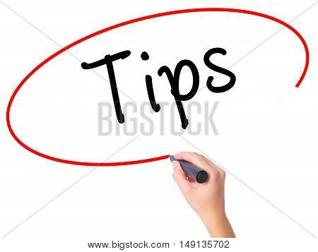 Women Hand Writing Tips With Black Marker On Visual Screen