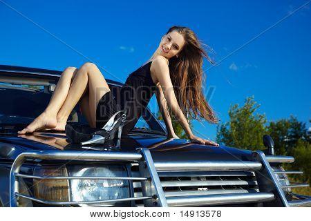 Girl On Off-roader's Cowl