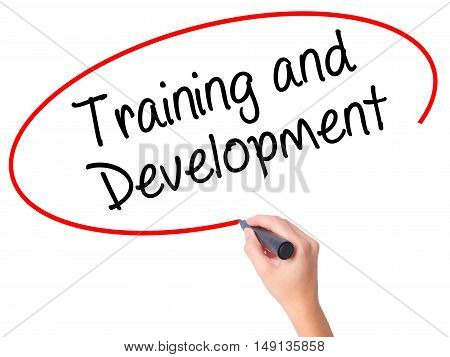 Women Hand Writing Training And Development With Black Marker On Visual Screen