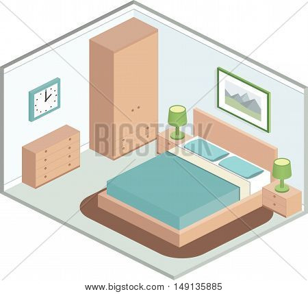 Modern design of cozy bedroom with furniture. Interior in isometric style in pastel tones. Vector 3D illustration.