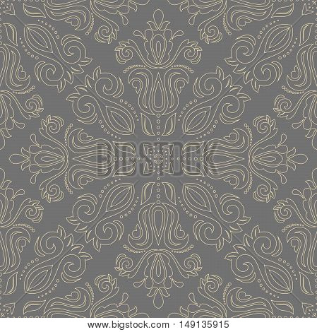 Seamless baroque vector pattern with golden outlines. Traditional classic orient ornament