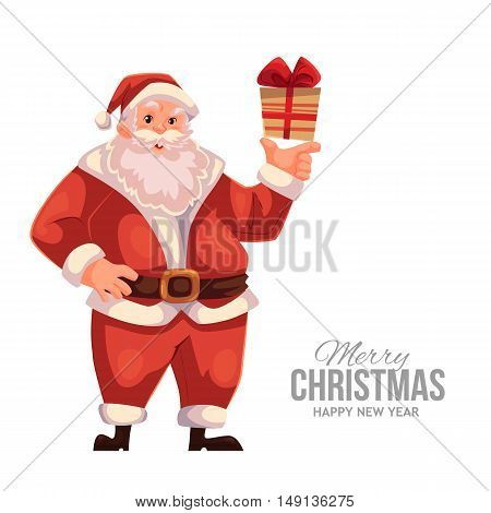 Cartoon style Santa Claus holding a small gift box, Christmas vector greeting card. Full length portrait of Santa holding a little present box, greeting card template for Christmas eve
