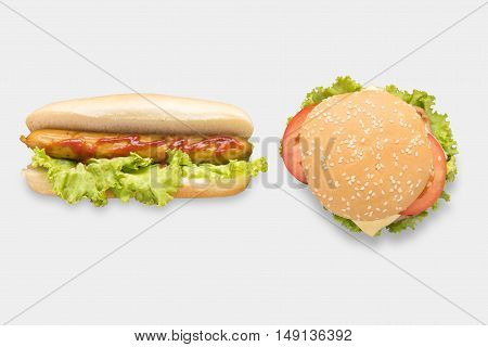 Mockup hot dogs and hamburgers set isolated on white background. Clipping Path included on white background.