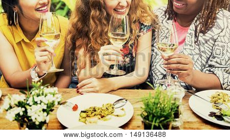 Diversity Women Group Hanging Eating Together Concept