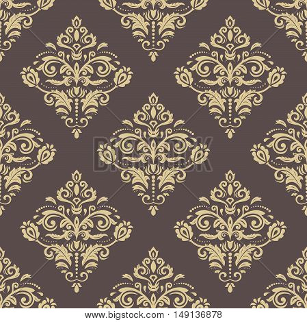 Damask vector classic pattern. Seamless abstract background with golden elements