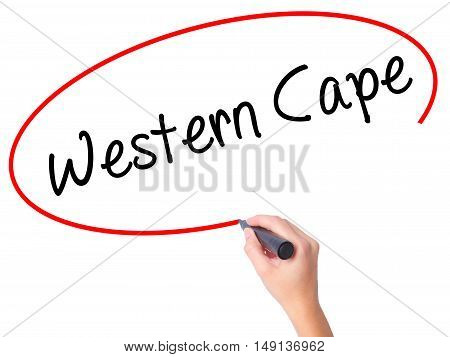 Women Hand Writing Western Cape With Black Marker On Visual Screen.