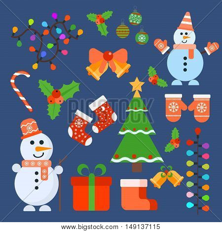 Christmas retro icons elements and illustrations decoration gift snowflake tree snowman. Christmas icons celebration present set. Christmas icons design season candy ball bell new year.