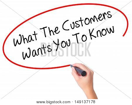 Women Hand Writing What The Customers Wants You To Know With Black Marker On Visual Screen