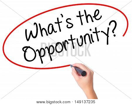 Women Hand Writing What's The Opportunity?  With Black Marker On Visual Screen