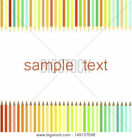 Vector frame of colored pencils color symbol vector. Color school education drawing pencil background. Wood group crayon red rainbow pencil background draw school supplies office tool.