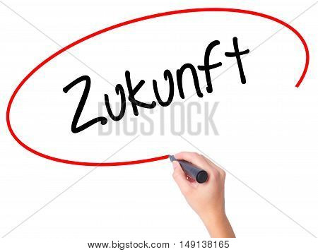 Women Hand Writing Zukunft (future In German)  With Black Marker On Visual Screen